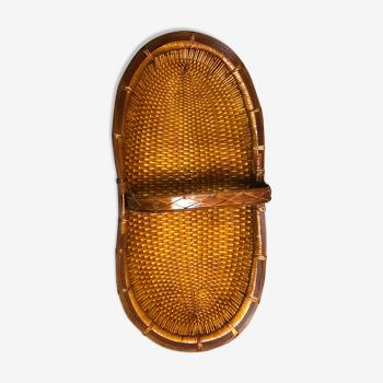 Panier de cueillette vintage en osier tressé