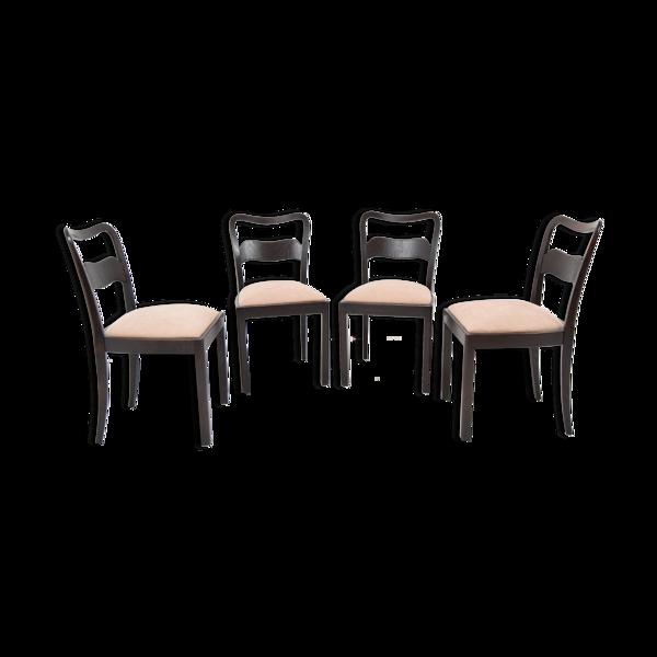Selency Ensemble de quatre chaises de Jindrich Halabala années 1940.