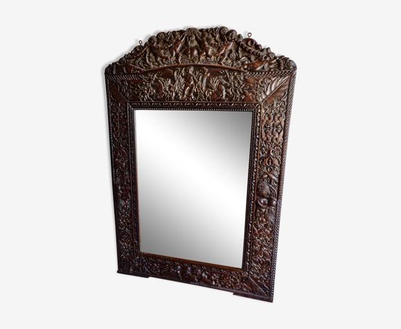 Miroir Renaissance Espagnole chêne XIXème 137cm