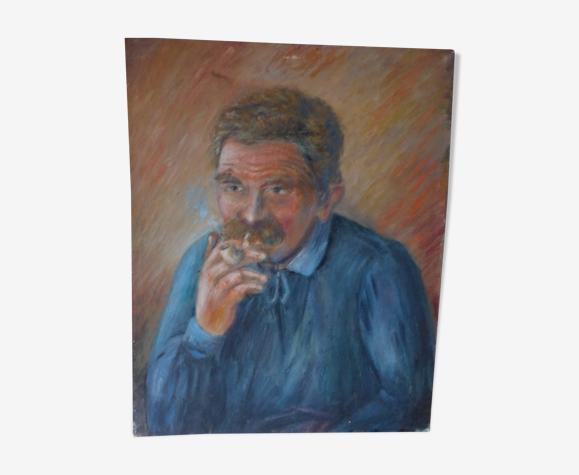 Tableau huile sur toile portrait d'homme