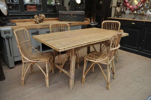 Table de salle à manger vintage en rotin 1960