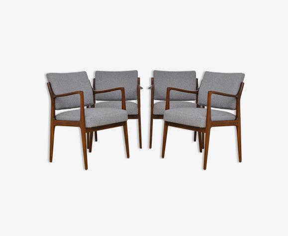 Ensemble de quatre chaises scandinaves, années 1960