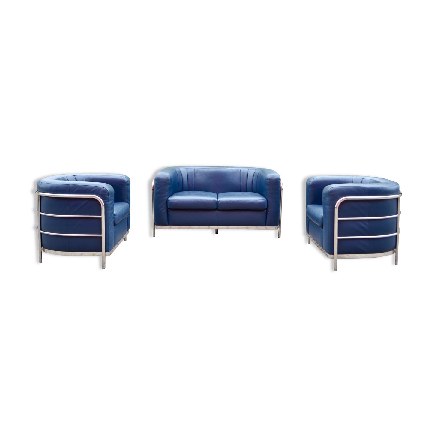 Ensemble canapé & 2 fauteuils en cuir bleu Zanotta Onda