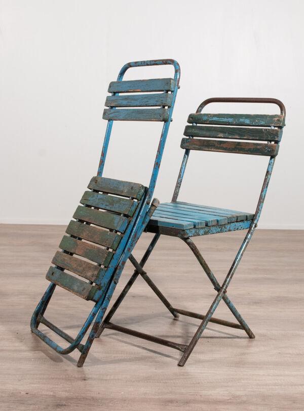 Paire de chaises pliantes industrielles