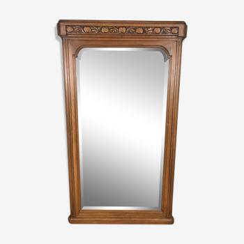 Miroir en noyer et glace biseauté époque Art Déco - 160x90cm
