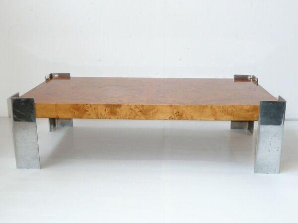 Magnifique table basse loupe d'orme & chrome 1960/ 1970 vintage à restaurer