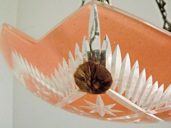 Lustre décoratif vintage français en verre orange