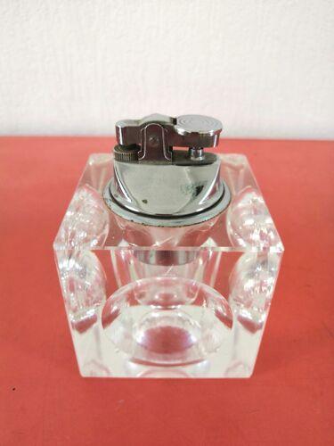 Briquet cube en verre design années 70