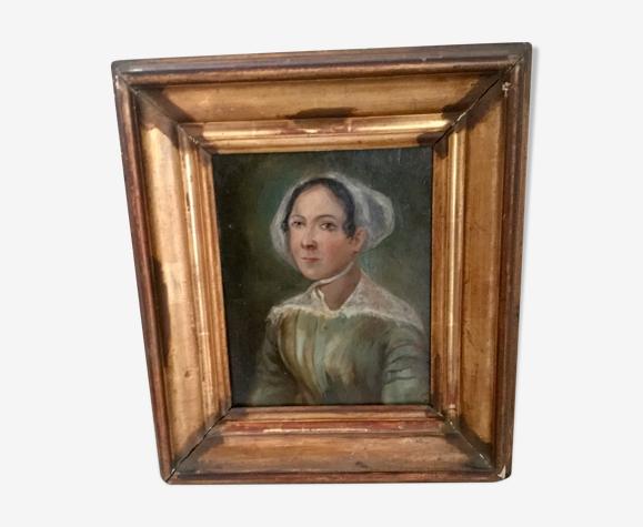 Tableau ancien portrait à l'huile 19eme