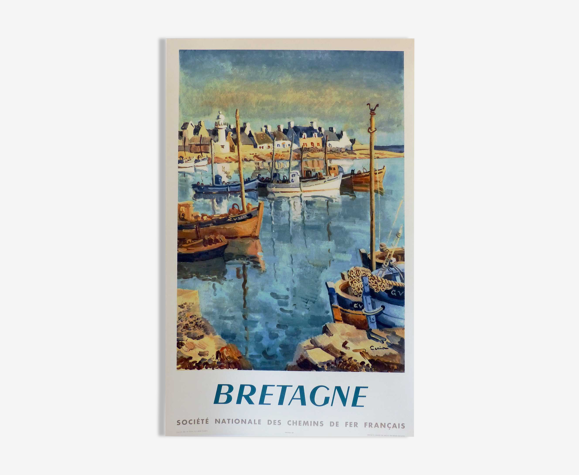 Affiche ancienne originale Bretagne sncf 1953