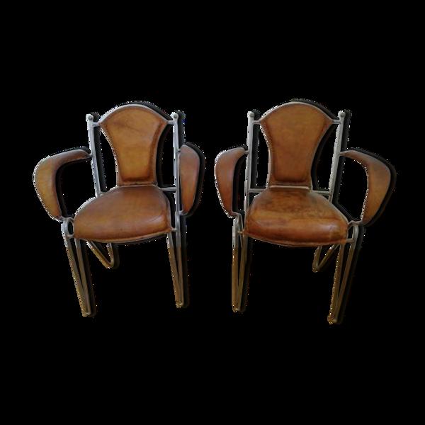 Fauteuils vintage cuir et fer forgé
