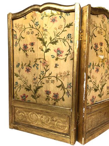 Paravent à trois feuilles, bois doré, tissu à motif de fleurs