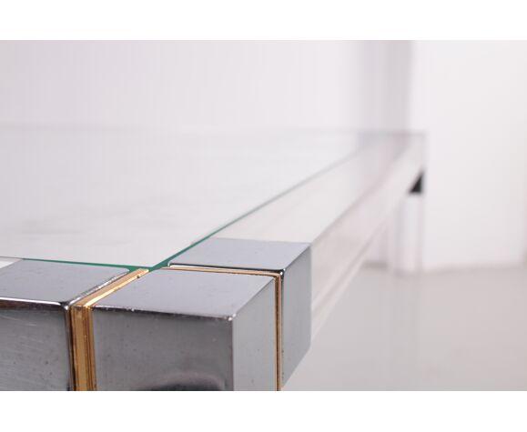 Table d'appoint en plexiglas avec détails métalliques années 1980