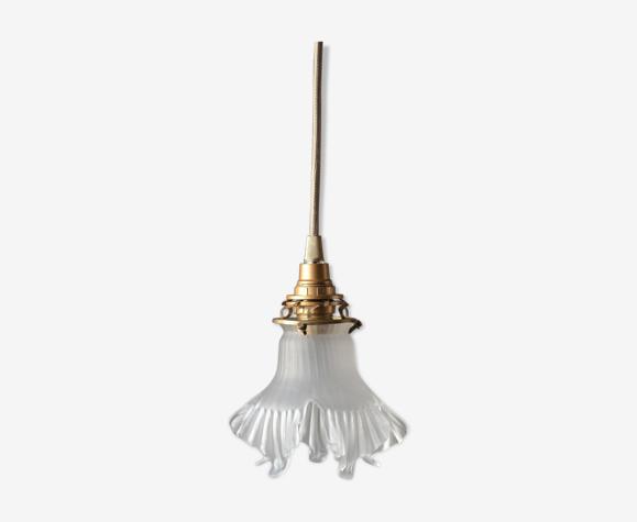 Baladeuse déco en verre dépoli lampe baladeuse art déco de forme florale - cordon beige