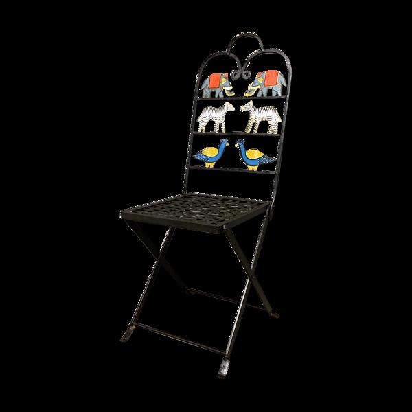 Chaise de jardin pliante fer forgé vintage 1950s