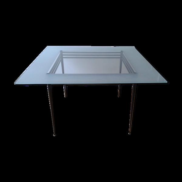 Selency Table verre carrée Pascal Mourgue