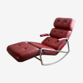 Chaise longue en skai vintage
