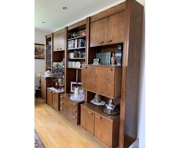 Meuble bibliothèque bois frêne marron vintage