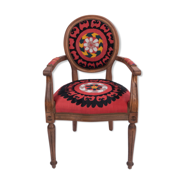 Bohemian chair, Suzani embroidery armchair with bergere style