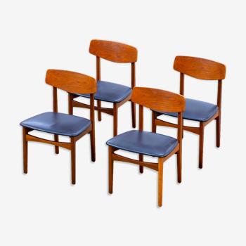 Série de 4 chaises scandinaves vintage 1960