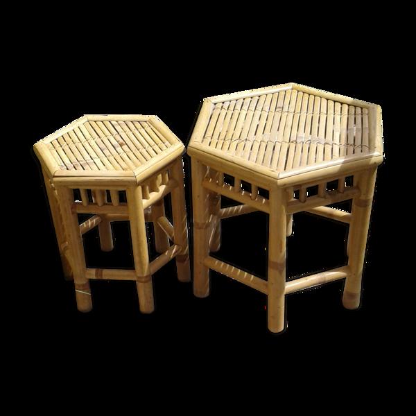 Lot de 2 tables en bambou