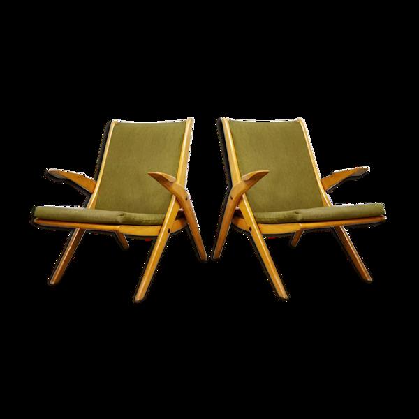 Lot de 2 fauteuils de salon design vintage pieds ciseaux