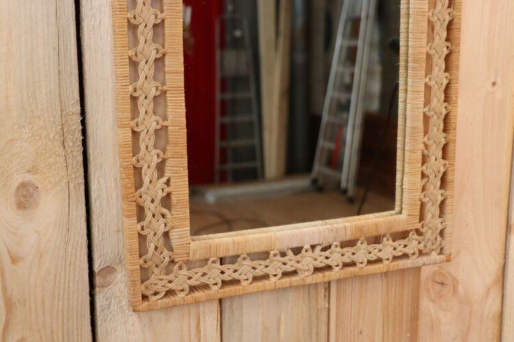 Miroir rotin tressé 53x43cm
