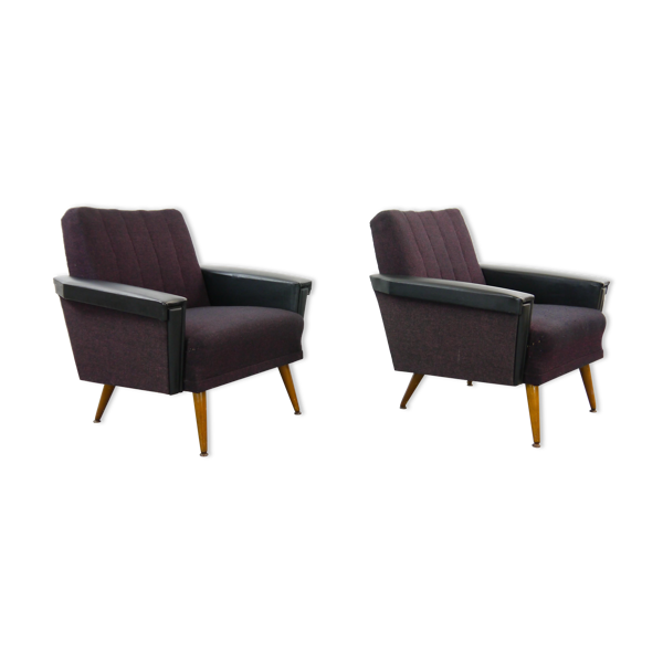 Paire de fauteuils vintage noir-violet des années 50 / 60