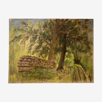 Peinture paysage vintage