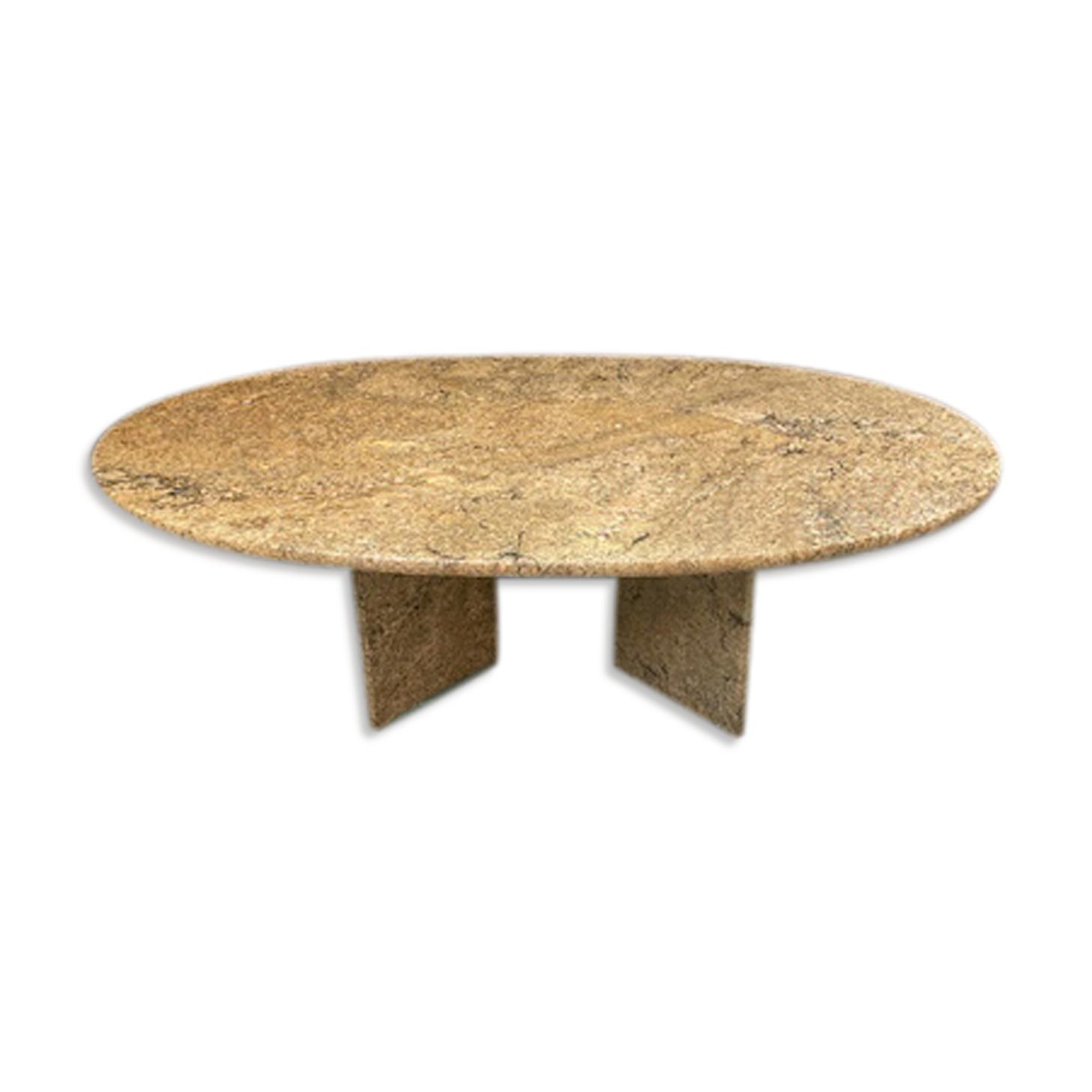 Table basse en granit brun beige années 80 vintage