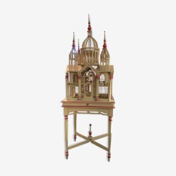 Cage à oiseau bois vintage Sacré-Cœur