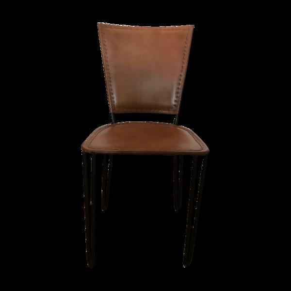 Chaise cuir et métal Zago