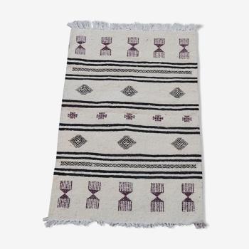 Tapis blanc noir et violet tissé à la main en pure laine