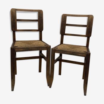 Paire de chaises bois foncé & paille