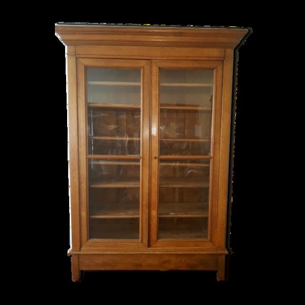 Bibliothèque vitrée en chêne doré
