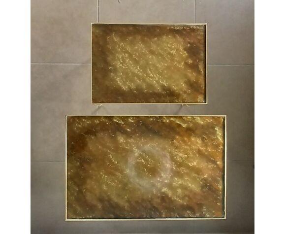 Tables gigognes en bronze et verre eglomisé