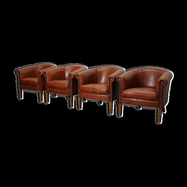 Set de 4 fauteuils club vintage en cuir cognac Pays-Bas