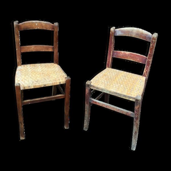 Set de 2 chaises bistrot restaurant taverne brasserie 1930 Alsace Tigre Bock Strasbourg