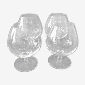 Suit de 4 verres à cognac en cristal