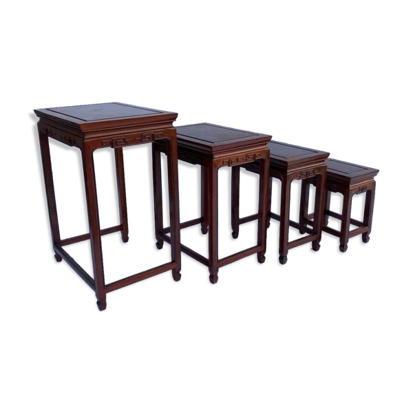 4 tables gigognes en bois de fer 1940