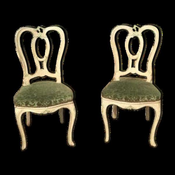 Selency Paire de chaises laquées style Louis XV