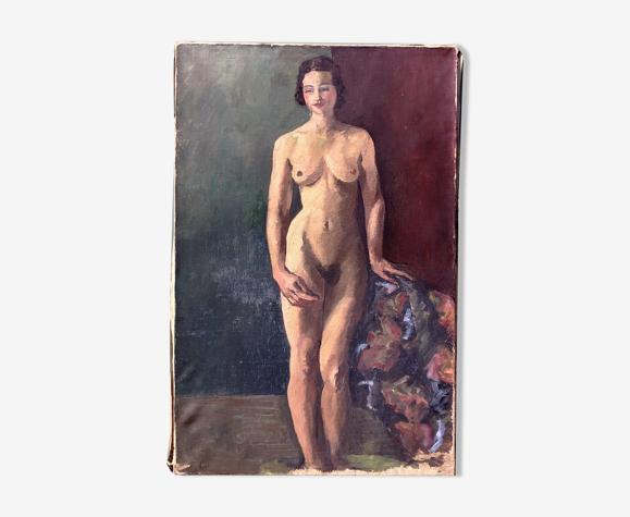 Tableau nu féminin, huile sur toile