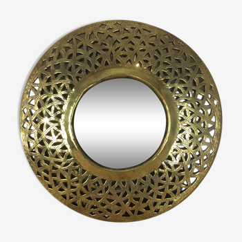 Miroir rond laiton Oriental 28 cm