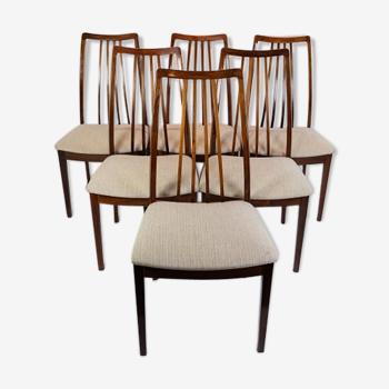 Ensemble de six chaises de salle à manger de bois de rose de conception danoise des années 60