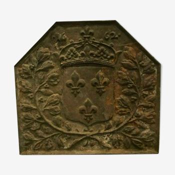 Plaque de cheminée en fonte de fer Décorde blason couronné XIX siècle