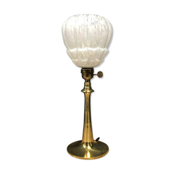 Lampe de table en laiton français avec abat-jour en verre