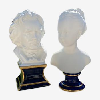 Bustes Camille Tharaud  jeune fille d après Houdon et Beethoven