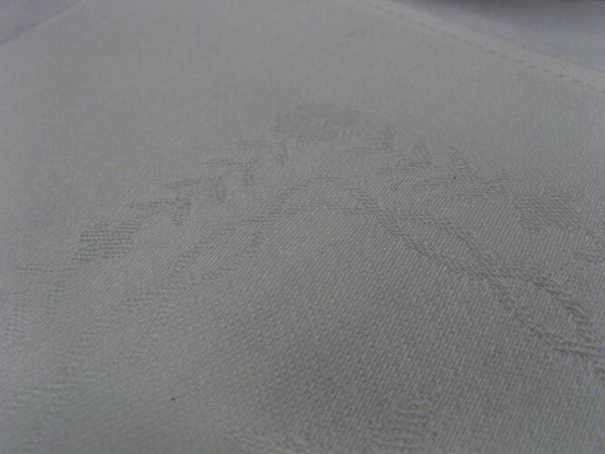 8 serviettes de table damassé fleur monogrammé SH