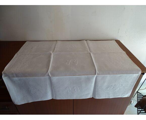 Lot de 10 serviettes de table brodées coton damassé monogramme J.G