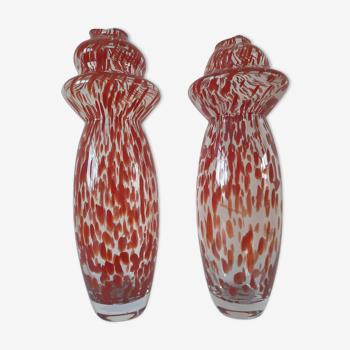 Paire de vases en verre soufflé de Murano, Carlo Moretti